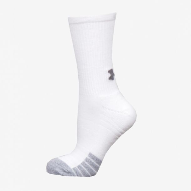 HEATGEAR 3PK CREW SOCKS WHITE