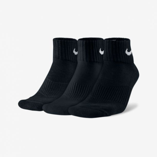3PACK COTTON QUARTER SOCKS BLACK