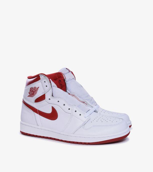 JORDAN 1 HI OG  WHITE METALLIC RED BG